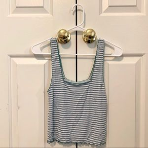 NEW AE Striped Lettuce Edge Tank Top